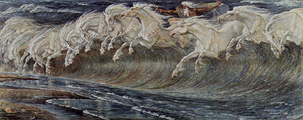 Walter Crane: Die Rosse des Neptun. Neue Pinakothek München, Public Domain @ Wikimedia
