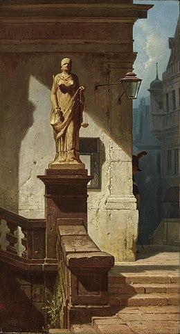 Carl Spitzweg: Das Auge des Gesetzes (Justitia) (1857).