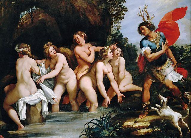 Giuseppe Cesari: Diana und Aktaion. Museum der feinen Künste, Budapest. — Quelle: Public Domain via Wikimedia Commons.