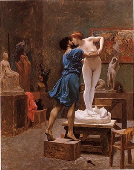 Jean–Léon Gérôme: Pygmalion et Galatée. Metropolitan Museum of Art, New York. — Quelle: Public Domain via Wikimedia. Pygmalion, ein Künstler in Zypern, ist maßlos enttäuscht von den Frauen und lebt nur noch für seine Bildhauerei. Unbewußt erfüllt er sich seinen Traum durch eine von ihm erschaffene Elfenbeinstatue, die wie eine lebendige Frau aussieht und dabei seinem Ideal entspricht. Das Abbild behandelt er mehr und mehr wie einen echten Menschen und schließlich verliebt er sich in seine Kunstfigur. Zypern ist die Heimat von Venus, daher fleht der Künstler die Göttin der Liebe an ihrem Festtag inbrünstig an, wenn schon seine Statue nicht zum Menschen werden könne, so sei ihm wenigstens vergönnt, daß seine künftige Frau so sei wie diese. — Als er dann aber von den Feierlichkeiten für die Göttin wieder nach Hause zurückkehrt und die Elfenbeinstatue zu liebkosen beginnt, erwacht diese langsam zum Leben.