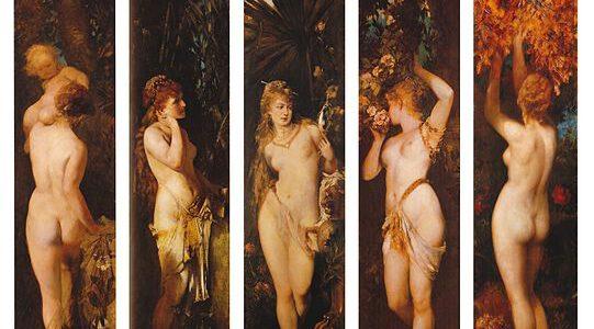 Die fünf Sinne, Gemälde von Hans Makart aus den Jahren 1872–1879: Tastsinn, Hören, Sehen, Riechen, Schmecken. Österreichische Galerie Belvedere, Wien.